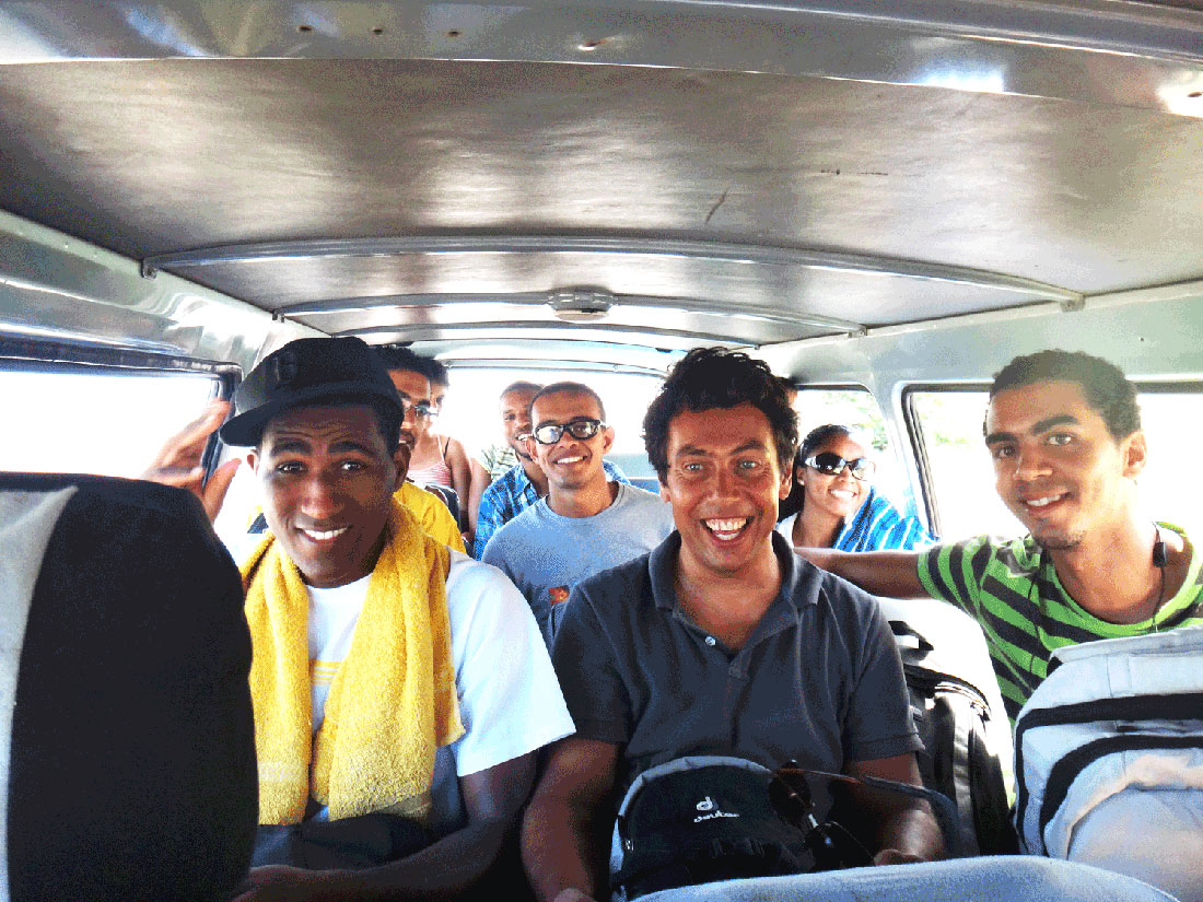 Having fun in a Hiace - typical Cabo Verde public transport