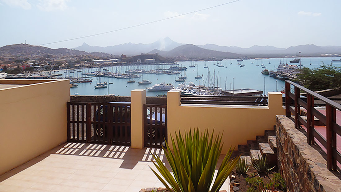 Harbor view from the balcony at Residencial Mimagui Mindelo Cabo Verde