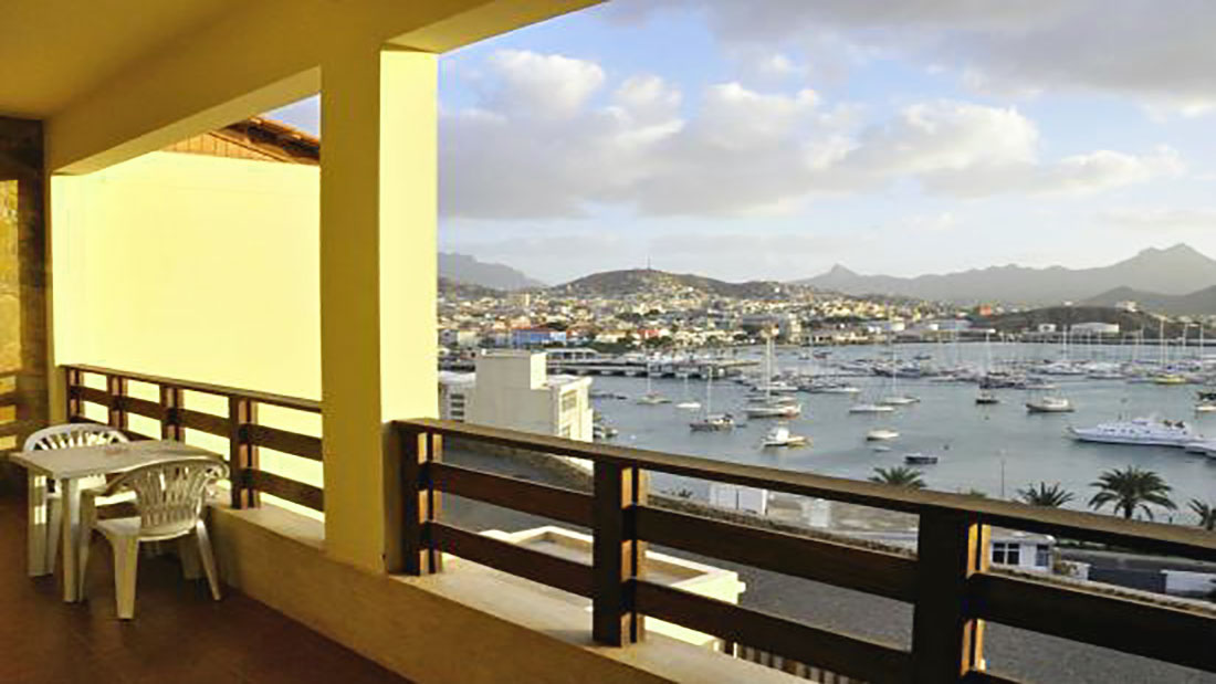The balcony view over harbor Mimagui, Cabo Verde